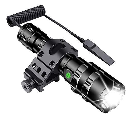 Tactical Flashlight JT10 1200 Lumen Black LED Light with Offset Rail Mount, Rechargeable Batteries and 2 Modes Pressure Switch Included,Outdoor Hunting