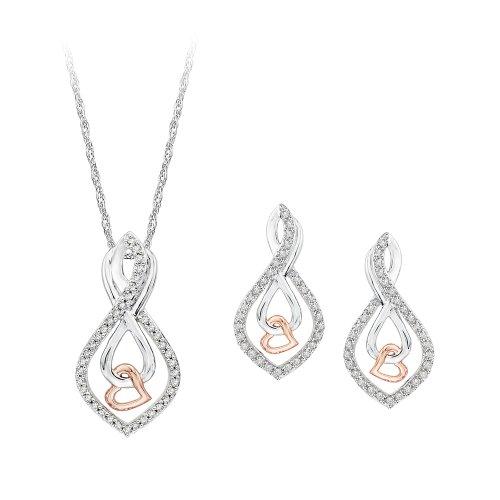 infinity diamante pendientes y colgante con cadena Jewelry–Pendientes de plata de ley de dos tonos (3/8quilates)
