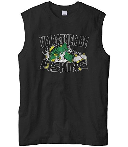 Cybertela Men's I'd Rather Be Fishing Sleeveless T-Shirt (Black, Large)