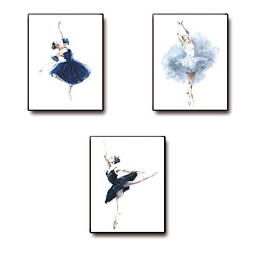 Decorative paintings Wall Art Quotes Poster- Home Office White Watercolor ballerina Swan Ballet Dance Print Kitchen Living Room Decoration Kids Teens Bedroom Decor Motivational Painting Artwork 3 piece Unframed Canvas Sayings Positive Phrase(Size:20x25cm x3pcs )