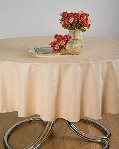 ESSE HOME - Linea Confestyl – Tovaglia - Copritavolo – Ovale per 8 Persone - Fiandra Jacquard Puro Cotone - Made in Italy – Prodotto Artigianale - Iris 598 (Ovale 170x220, Tovaglia Pesco)