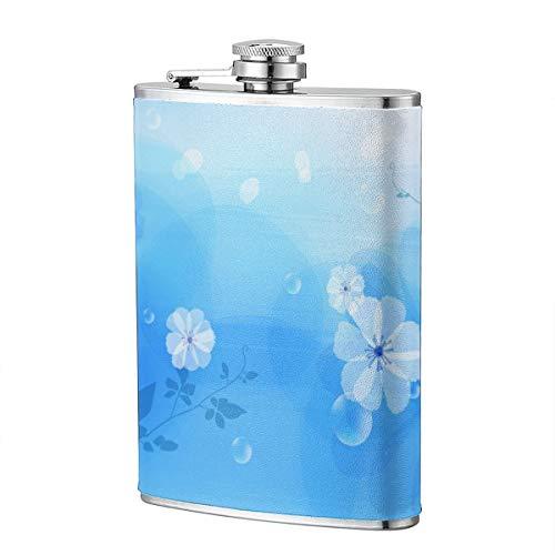 Eleagnt White Floral Design Wallpaper 8OZ Edelstahl Flachmann, Taschenbehälter zum Trinken von Liquor Rum