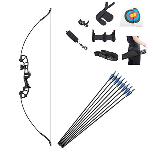 OEELINE Recurve Bow and Arrow Set, 54 inch Right Hand Draw Weights in 40 lbs Youth Archery Bow Sets