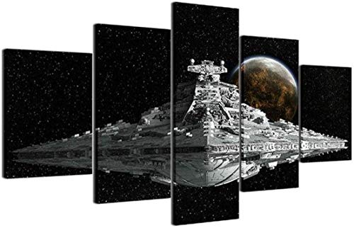 HAOSHUNDA Star Wars Imperial Star Destroyer Poster Room Decor Wall Art Wall Art Living Room Poster Home Decor 5 Panel Canvas Print Wall Art (12x20x2,12x28inx2,12x32inx1)