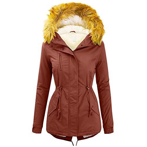 BIBOKAOKE Abrigo de plumas para mujer, forro interior, parka, chaqueta softshell con capucha de...