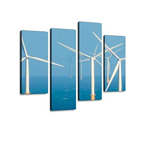 Energía limpia y sostenible - Aerogeneradores en el mar Lienzo Arte de la pared Pinturas colgantes Obras de arte modernas Resumen Imagen Impresiones Decoración para el hogar Regalo Diseñado único Enma