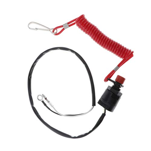 Generic Interruptor de Parada del Motor Llave Cordón Cordón Barco Kayak Motor Fuera de Borda Encendido Seguro
