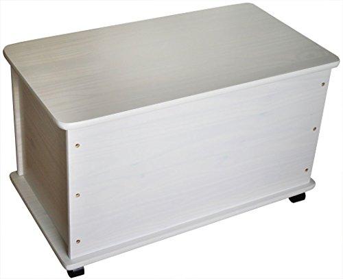 KMH®, Spielzeugkiste auf Rollen aus massivem Pinienholz, 73x40x43,5cm - 2