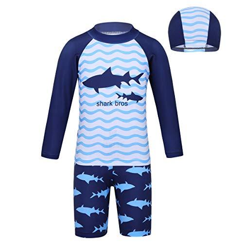 iEFiEL Kinder Jungen Bademode Streifen Schwimmanzug Einteiler UV Schütz Bade-Set Langarm Badeshirt Badeshorts mit Badekappe Blau 146-152
