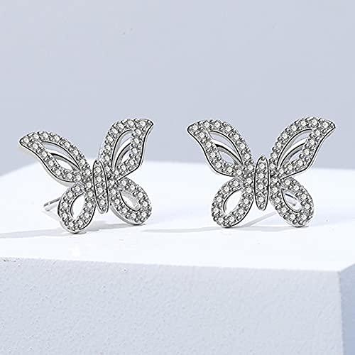 yuge 925 plata esterlina moda mujer joyería conjunto, utilizado para boda mariposa collar pendientes anillo joyería exquisita regalo pendientes