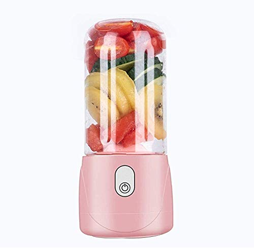 ZSR-haohai Tragbare Kleiner Elektro-Entsafter mit Deckel, Mini Haushalt Wiederaufladbare Blender Cup, 6-Blatt-Edelstahl-Blatt, Smoothie Maker Milkshake (Color : Pink)