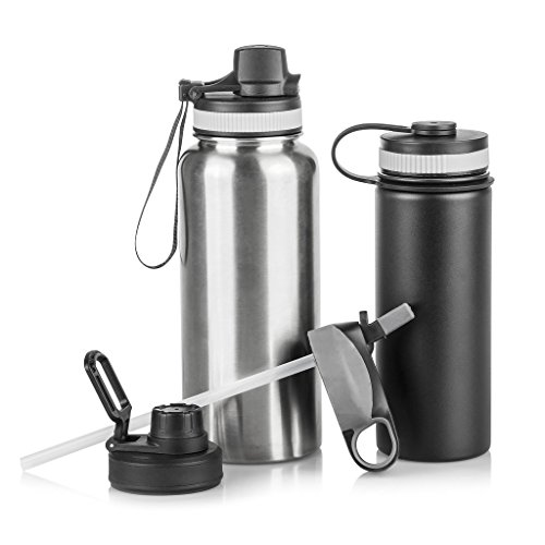 Sports Water Bottles with Assorted Lids: Set of 2 BPA Free Stainless Steel Sport Hydration Bottles with 4 Lid Options - For All Sports - Small 20 oz Matte Black Bottle and Large 32 oz Silver Bottle