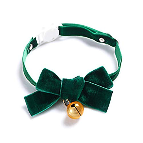 OHHCO Cats Adjustable Handmade Cloth Collar Safe Cute Collar for Down 28cm Neck Circumference Pets,green