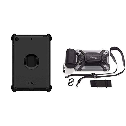 OtterBox Defender Series Case for iPad Mini (5th Gen ONLY) - Retail Packaging - Black Bundle with OtterBox Utility Series Latch II Case with Accessory Bag for 7-8 Inch Tablets