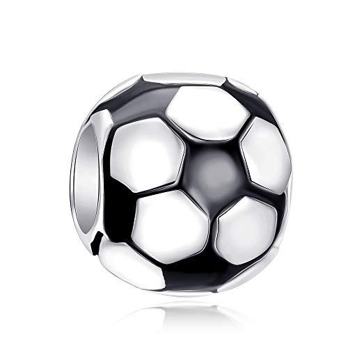 Charm a forma di pallone da calcio, classico, in argento Sterling 925, con smalto nero, adatto per braccialetti europei