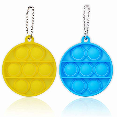 ZNNCO Push Pop Bubble Fidget Sensory Toys,Mini Fidget Poppers Keychain Toy,Autism Special Needs Stress Reliever for Kids Adults(Yellow+Blue Round)