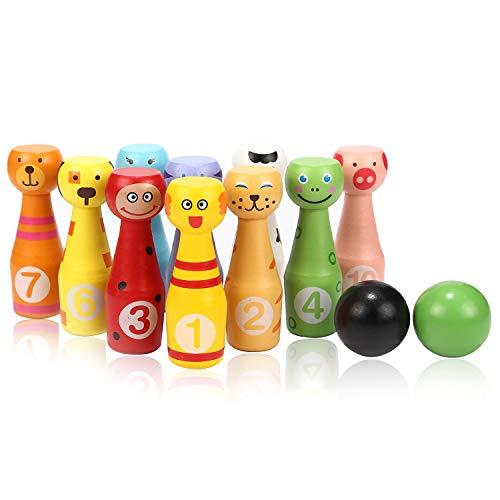 Jacootoys Bowling Set Kegelspiel Kegeln Spiel mit 10 Kegel und 2 Bälle Interaktiv Spielzeug für Kinder 3 4 5 Jahren