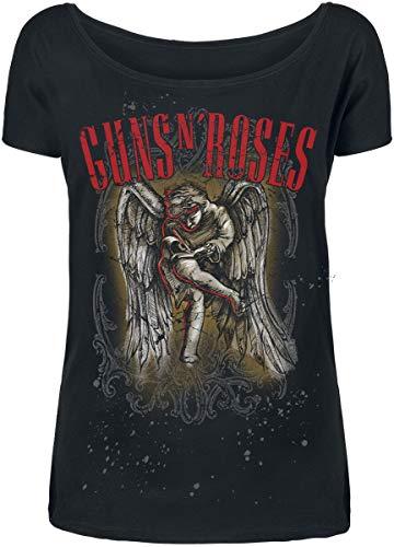 Guns N' Roses Sketched Cherub Mujer Camiseta Negro S, 100% algodón, Ancho