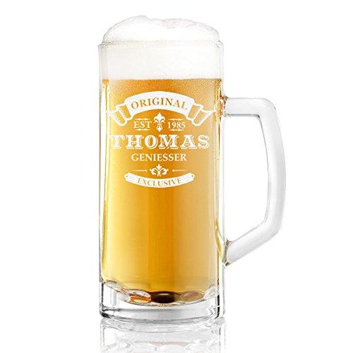 polar-effekt Bierkrug Personalisiert mit Gravur eines Namens und Jahreszahl – Bierseidel Geschenk-Idee zum Geburtstag - Motiv Original-Exklusive 0,5l