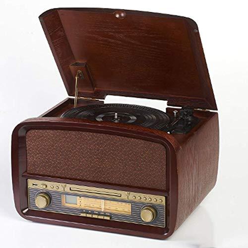 IW.HLMF Tocadiscos portátil Tocadiscos Retro con Altavoz Incorporado Tocadiscos Bluetooth inalámbrico 3 velocidades marrón