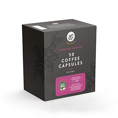 Marca Amazon - Happy Belly Select Cápsulas Compatibles con Nespresso - Certificada UTZ - 100 Cápsulas (2 Paquetes x50) - Espresso BIO