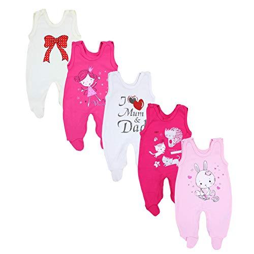 TupTam Baby Unisex Strampler mit Aufdruck Spruch 5er Pack, Farbe: Mädchen, Größe: 56