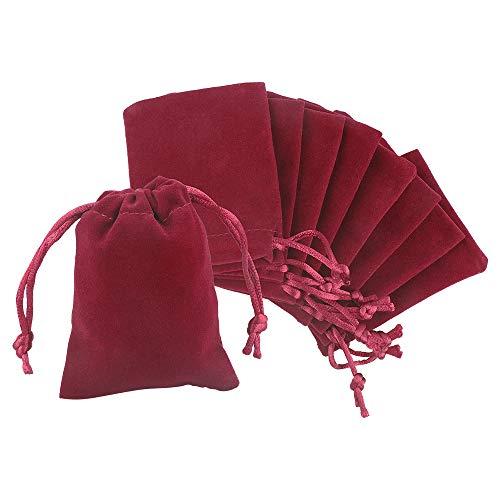 jijAcraft 20Pcs Bolsas de Terciopelo con Cordón 7x9cm Bolsas de Joyería, Bolsas de Regalo de Boda Bolsas de Dulces - Rojo Vino