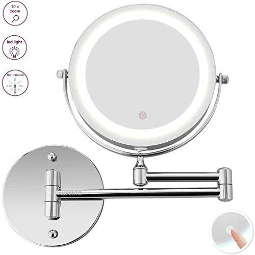 AUPERTO LED Beleuchteter Kosmetikspiegel - 10fach Vergrößerung Schminkspiegel mit Touch Button Einstellbar Licht Wandmontage, 360° Horizontal Schwenkbar, 7-Zoll