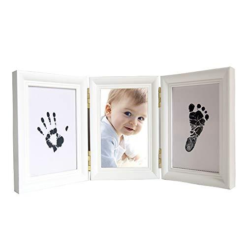XULJ Kit Cadre Photo Empreinte de Main et Empreinte béb Immortaliser Vos Souvenirs bébé d'encre à la Main Empreintes Enfants bébé Handprint Boue Cadre Photo Souvenir Cadeau