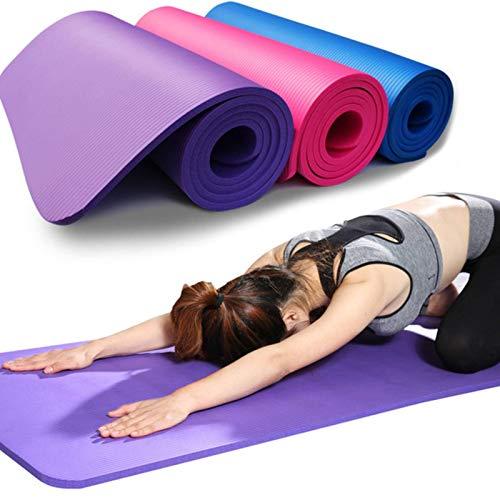 Yoga Mat Made of NBR Non-Slip Yoga Mat Yoga Exercise Mat Pilates Fitness Fitness Mat 10mm Thickening and Widening Dance Yoga Fitness Mat + Strap + Mesh Bag