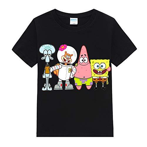 Spongebob Squarepants T-Shirt Sommer-Karikatur-Druck-T-Shirt Freizeit Schöne T-Shirt Trend stilvolle T-Shirt for Jungen und Mädchen für Jungen und Mädchen (Color : BLACK06, Size : 130)