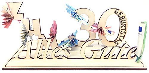 Geldgeschenk, 30. Geburtstag, Holzzahl, Glückwunsch, Alles Gute zum Geburtstag