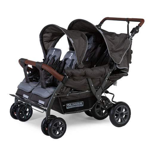 Unbekannt Childwheels Kinderwagen Krippenwagen Quadro Viersitzer Vierlingswagen - mit automatischer Bremse