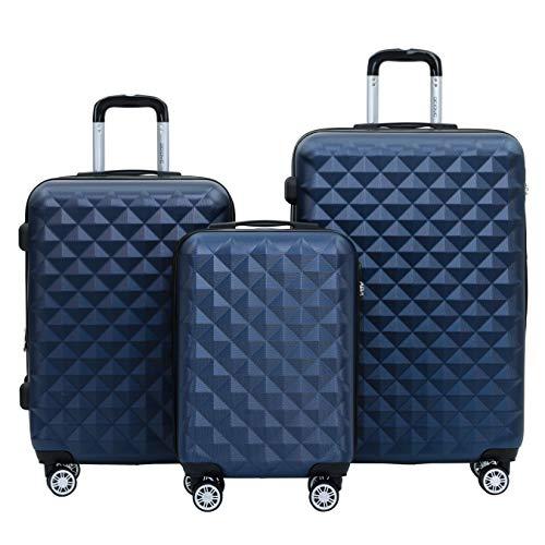 BEIBYE Kofferset 4 Zwillingsrollen Hartschale Trolley Koffer Reisekoffer Reisekofferset Gepäckset in 12 Farben (Dunkelblau)