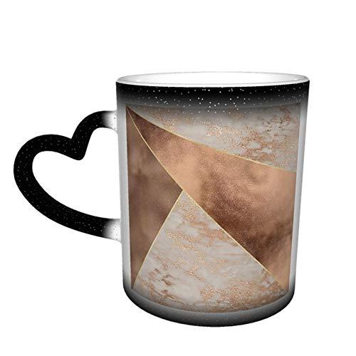 Taza de café mágica cambiante, lámina de cobre y triángulos de mármol oro rosa con diseño de triángulos, personalizable, de cerámica, sensible al calor, taza de café de leche y regalo de cumpleaños