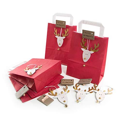 Logbuch-Verlag - Bolsitas de Navidad de papel con adorno navideño de renos...