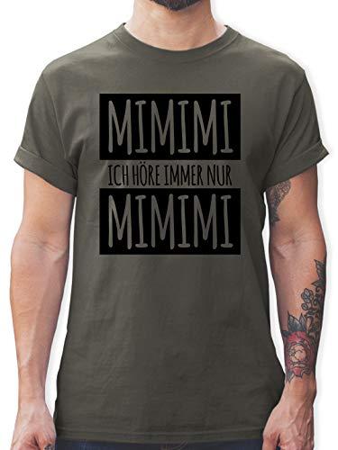 Statement - Ich höre Immer nur Mimimi - L - Dunkelgrau - lustige Tshirts Fuer Maenner - L190 - Tshirt Herren und Männer T-Shirts