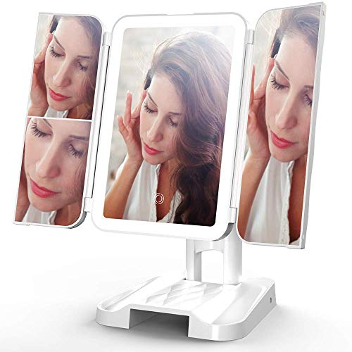 ShookOne Makeup Mirror Vanity Mirror with Lights 3 Color Lighting Modes 72 LEDs Trifold Mirror Touch Control 1x/2x/3x Magnification Portable Design with Storage Space