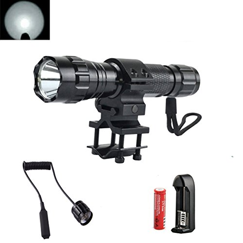 High Power 1000Lm Flashlight, One Mode Bright Tactical Light Torch Lamp with Pressure Switch, Battery, Charger, Mount for Camping Cycling Emerency Use