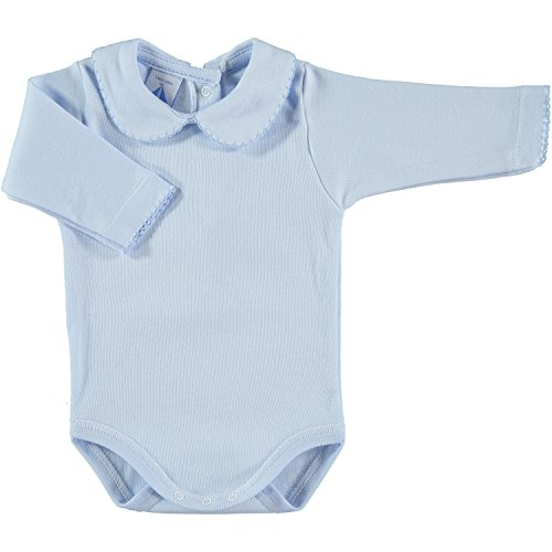 BABIDU Body Cuello Algodon, Celeste, 12 Meses Bebe-Unisex