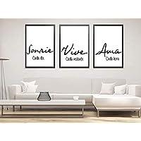 """Triptico de Cuadros decoración salón o habitación moderno, impresos con frase motivadora"""" Sonríe, Vive, Ama"""" Elige tamaño y color del marco."""