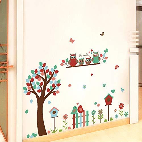Cmhai Kinderkamer Cartoon Uil Familie Muurstickers Hek Vogels Bloemen Boom Rokken Stickers Woonkamer Corridor Decoratie Maat 60 * 90Cm
