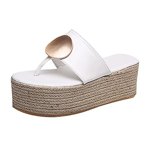 Sandalias Mujer Plataforma,Zapatillas de Plataforma de tacón Alto para Mujer, Zapatos de Exterior para Mujer, Sandalias de cuña de Zueco básico, Sandalias con Chanclas