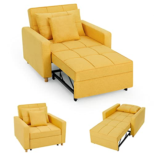YODOLLA 3-in-1 Sofa Bed Chair, Convertible Sleeper Chair Bed,Adjust Backrest Into a Sofa,Lounger Chair,Single Bed,Modern Chair Bed Sleeper for Adults,Mustard Yellow