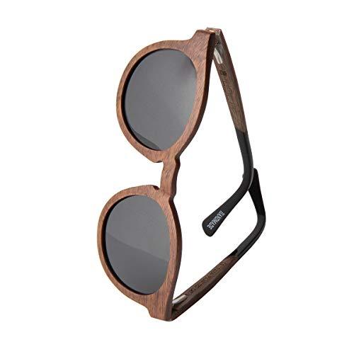 WOLA Holz Sonnenbrille SELVA Holzbrille Damen rund polarisiert UV400 Nussholz inkl Etui