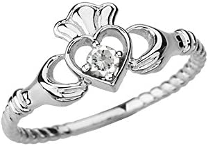 Dainty 14k White Gold Open Heart Solitaire Diamond Rope Claddagh Promise Ring Size 8 75 product image