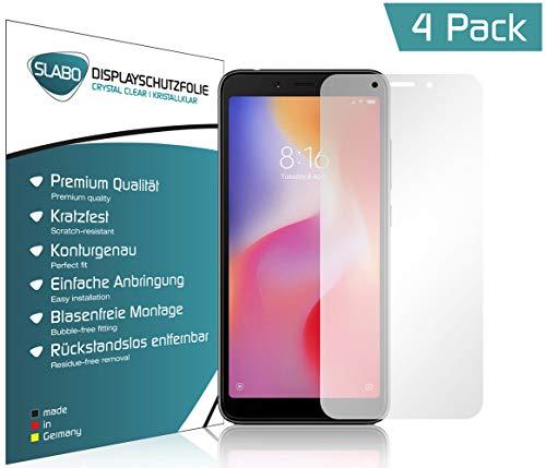 Slabo 4 x Bildschirmschutzfolie für Xiaomi Redmi 6   Redmi 6A Bildschirmfolie Schutzfolie Folie Zubehör (verkleinerte Folien, aufgr& der Wölbung) Crystal Clear KLAR - unsichtbar Made IN Germany