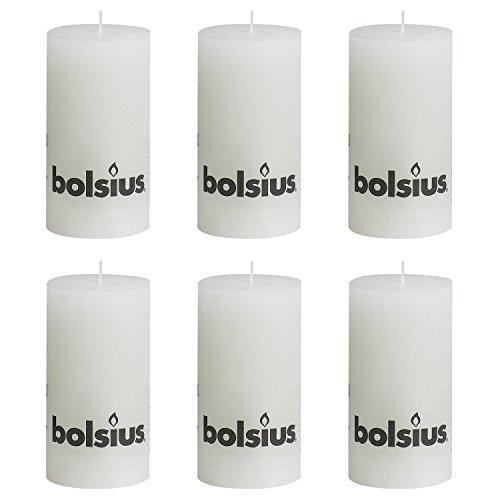 Bolsius 103867590302 Bolsius Stumpenkerze 'RUSTIK', Ø 7 x 13 cm, weiß (6er Pack)
