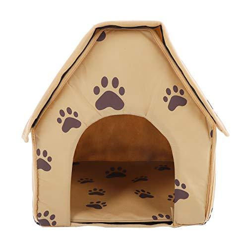 Komopesu Cama plegable para mascotas con tamaño pequeño, para mascotas, cachorro, gato, casa extraíble y lavable (amarillo oscuro)
