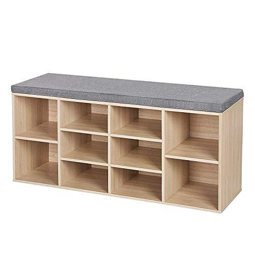Leisure Zone Schuhablage aus Naturholz, Schuhschrank Regal, Schrank Organisator mit Sitzkissen für den Flur, Größe: B 104 x T 30 x H 48 cm (10-Raster)